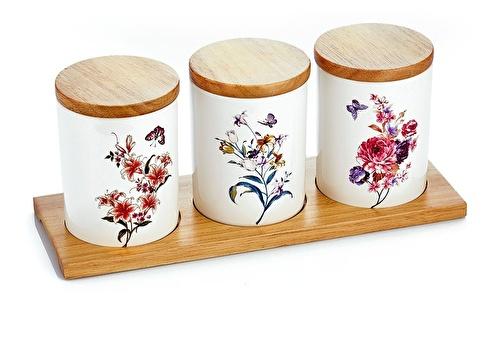 Noble Life Bamboo Üzeri Porselen 3'Lü Baharat Takımı Renkli